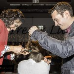 Naomi Fleming getting her ponytail cut off by Lisa McHugh and Nathan Carter.*